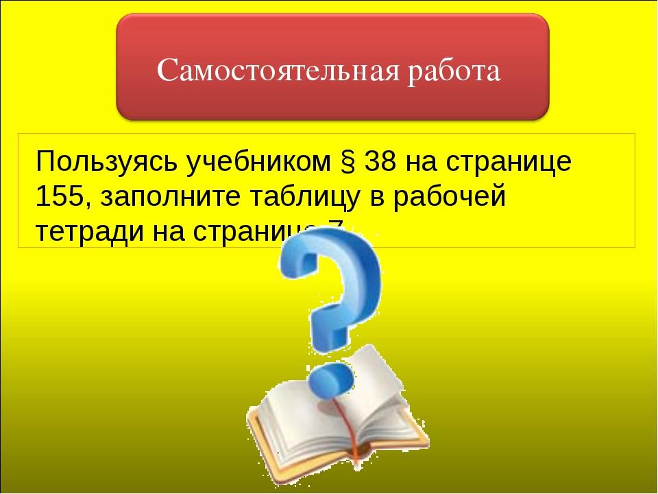 Пользуясь учебником § 38 на странице 155, заполните таблицу в рабочей тетради...