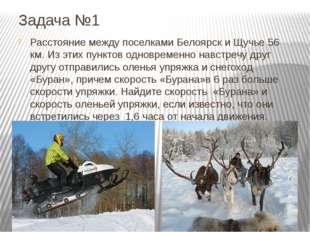 Задача №1 Расстояние между поселками Белоярск и Щучье 56 км. Из этих пунктов
