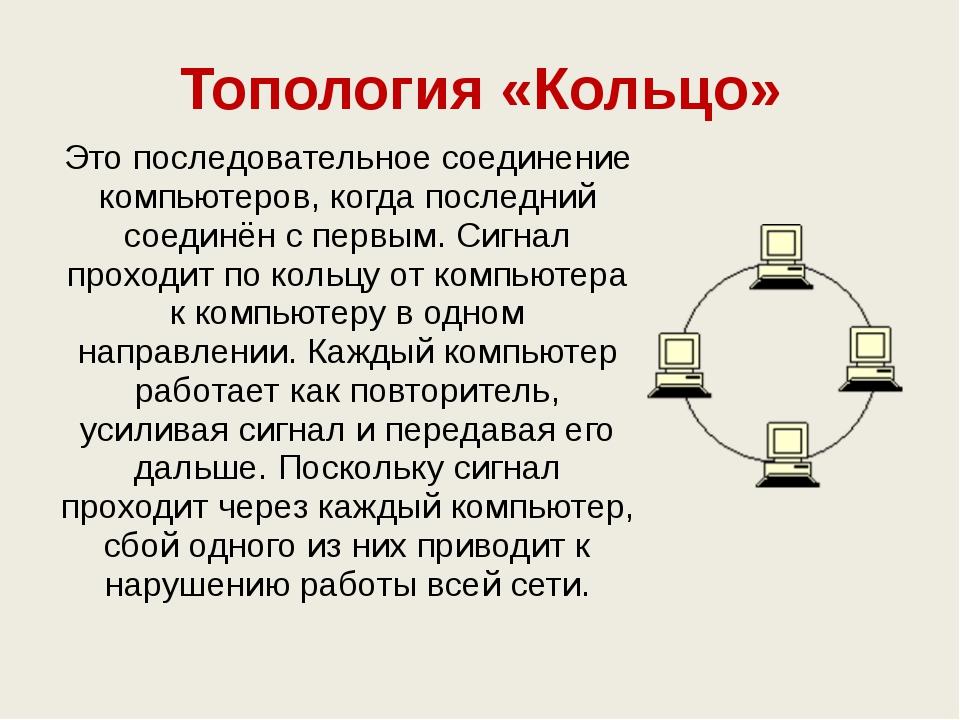Топология «Кольцо» Это последовательное соединение компьютеров, когда последн...