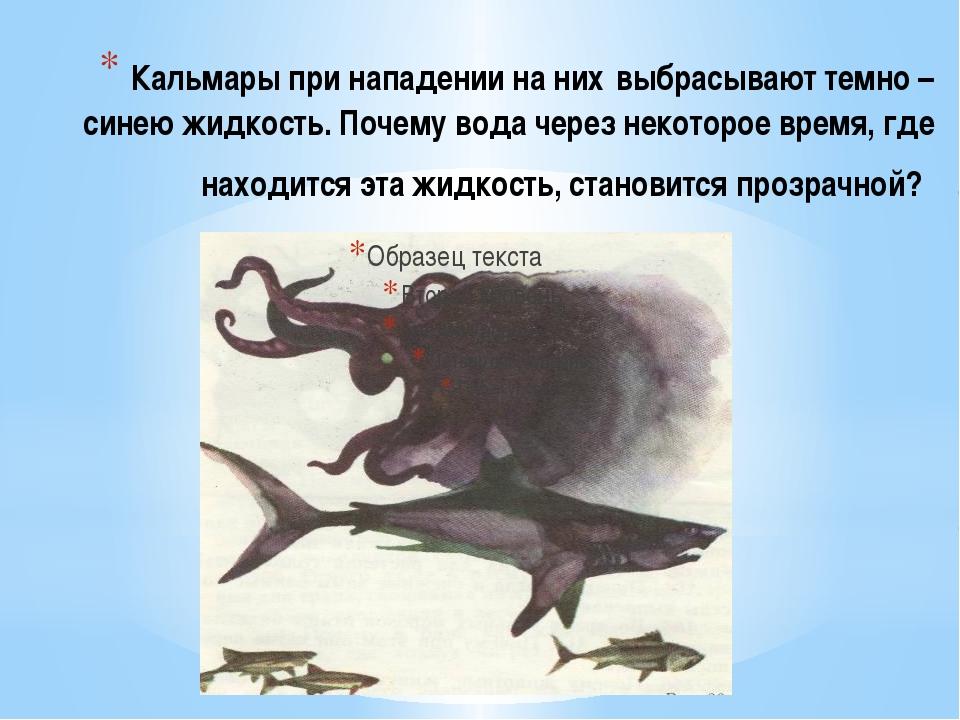 Кальмары при нападении на них выбрасывают темно – синею жидкость. Почему вода...