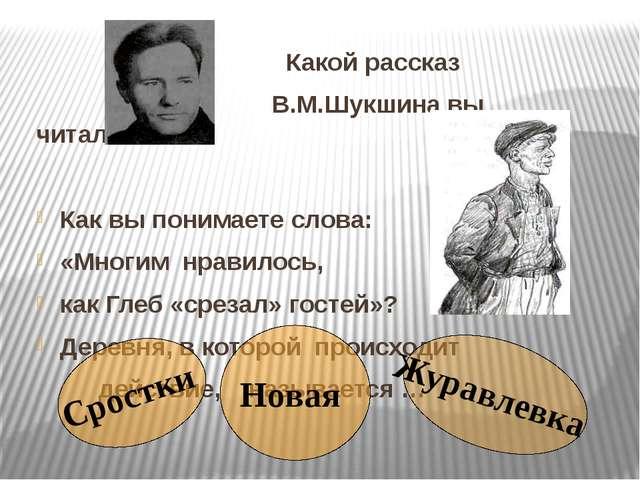 Какой рассказ В.М.Шукшина вы читали ? Как вы понимаете слова: «Многим нравил...