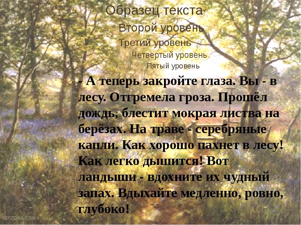 - А теперь закройте глаза. Вы - в лесу. Отгремела гроза. Прошёл дождь, блест...