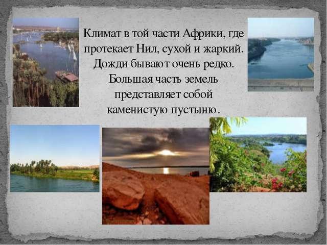 Климат в той части Африки, где протекает Нил, сухой и жаркий. Дожди бывают оч...