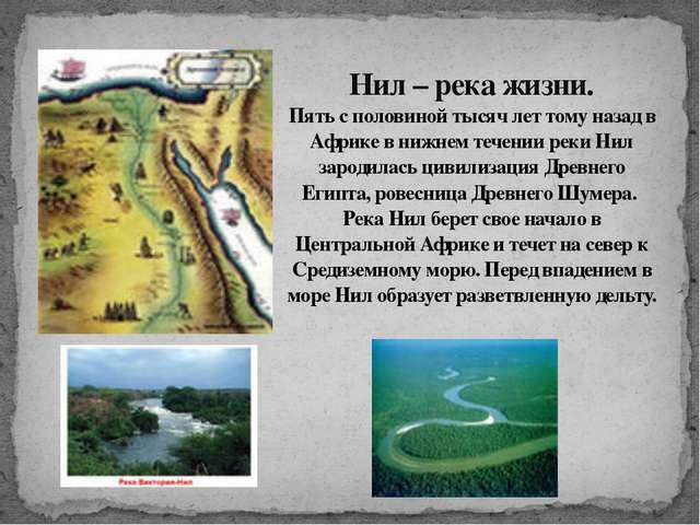 Нил – река жизни. Пять с половиной тысяч лет тому назад в Африке в нижнем теч...