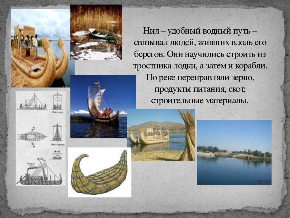 Нил – удобный водный путь – связывал людей, живших вдоль его берегов. Они нау...