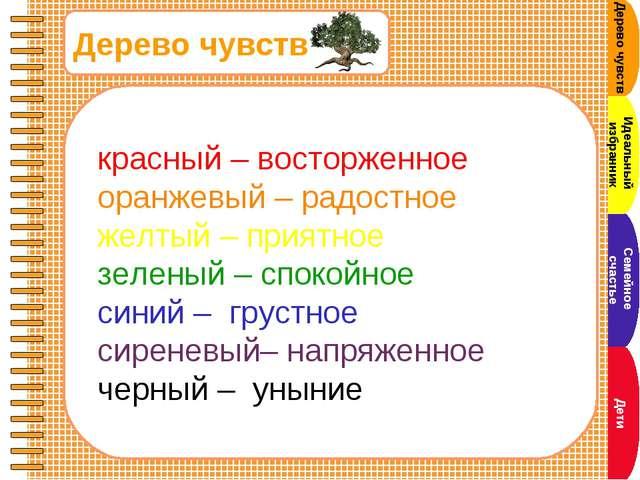 Дерево чувств красный – восторженное оранжевый – радостное желтый – приятное...