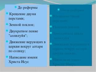 """До реформы Крещение двумя перстами; Земной поклон; Двукратное пение """"аллилуйя"""