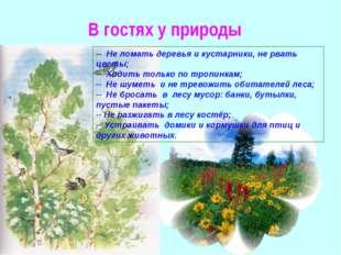 В гостях у природы -- Не ломать деревья и кустарники, не рвать цветы; -- Ходи