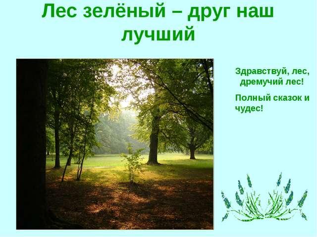 Лес зелёный – друг наш лучший Здравствуй, лес, дремучий лес! Полный сказок и...