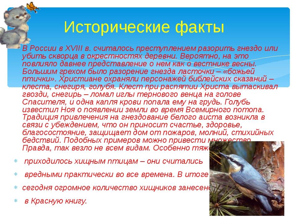 В России в XVIII в. считалось преступлением разорить гнездо или убить скворца...