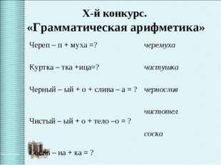 X-й конкурс. «Грамматическая арифметика» Череп – п + муха =? Куртка – тка +и