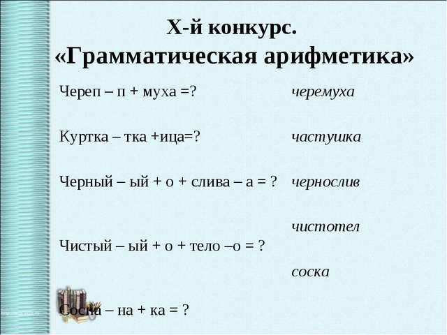 X-й конкурс. «Грамматическая арифметика» Череп – п + муха =? Куртка – тка +и...