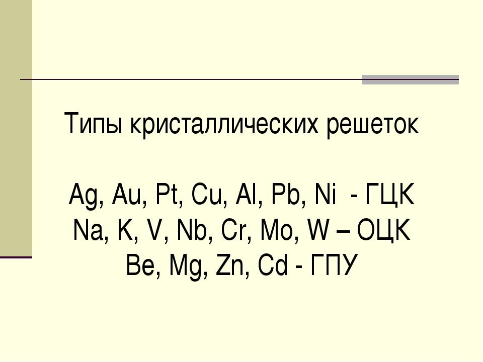 Типы кристаллических решеток Ag, Au, Pt, Cu, Al, Pb, Ni - ГЦК Na, K, V, Nb, C...