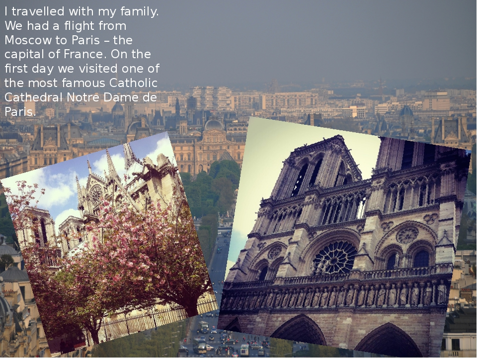 I travelled with my family. We had a flight from Moscow to Paris – the capita...
