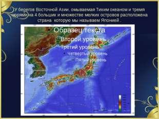 У берегов Восточной Азии, омываемая Тихим океаном и тремя морями на 4 больших