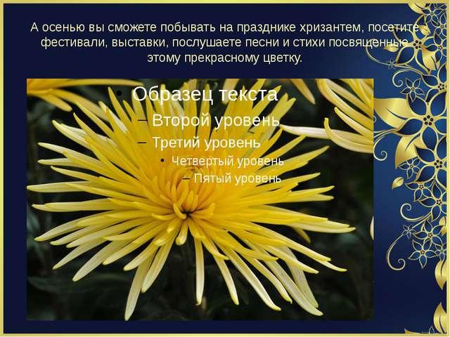 А осенью вы сможете побывать на празднике хризантем, посетите фестивали, выст...