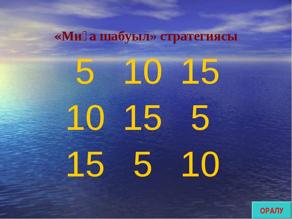 «Миға шабуыл» стратегиясы ОРАЛУ 51015 10155 15510