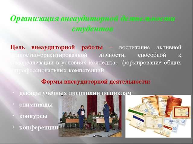 Организация внеаудиторной деятельности студентов Цель внеаудиторной работы –...