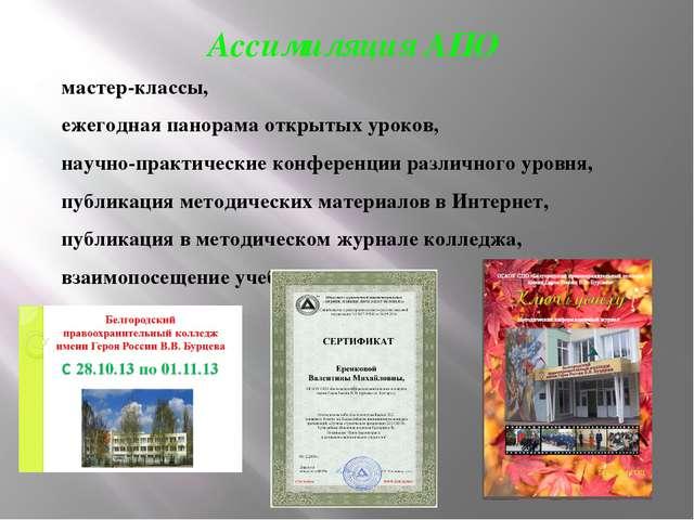 Ассимиляция АПО мастер-классы, ежегодная панорама открытых уроков, научно-пра...
