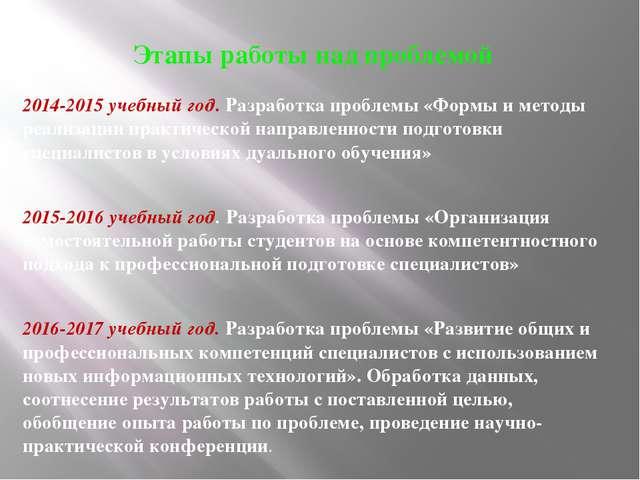 Этапы работы над проблемой 2014-2015 учебный год. Разработка проблемы «Формы...
