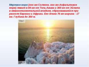 Мертвое море (оно же Соленое, оно же Асфальтовое море) лежит в 84 км от Тель-