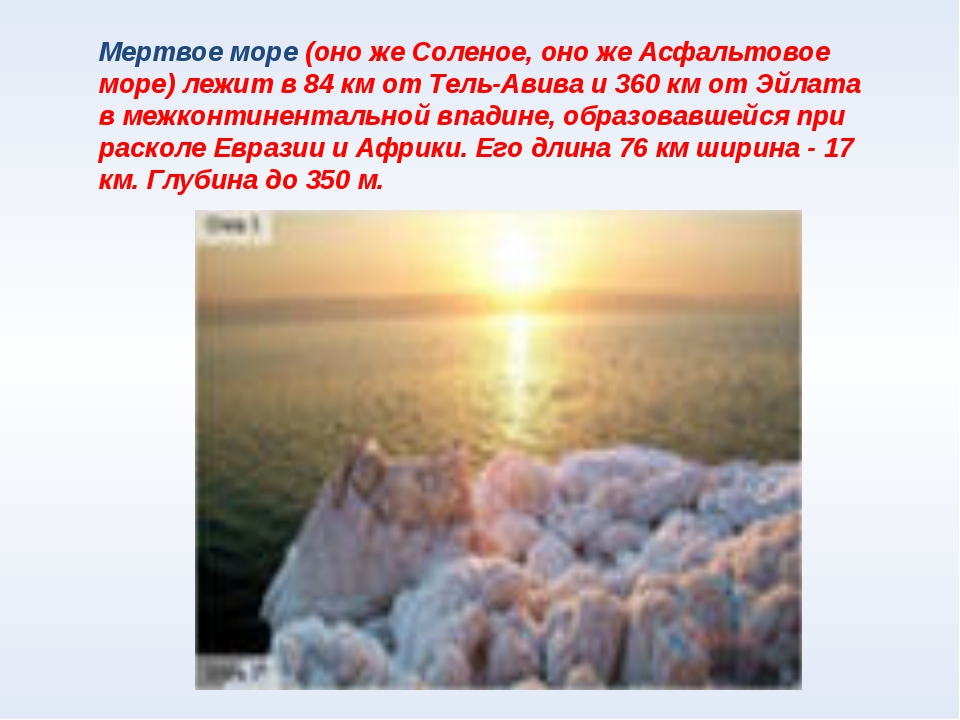 Мертвое море (оно же Соленое, оно же Асфальтовое море) лежит в 84 км от Тель-...