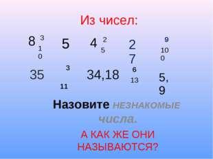 Из чисел: Назовите НЕЗНАКОМЫЕ числа. А КАК ЖЕ ОНИ НАЗЫВАЮТСЯ? 8 3 10 4 2 5