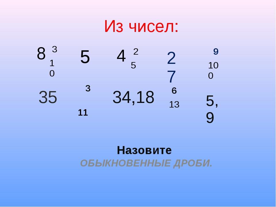 Из чисел: Назовите ОБЫКНОВЕННЫЕ ДРОБИ. 8 3 10 4 2 5 9 100 5 27 35 3 11 34...
