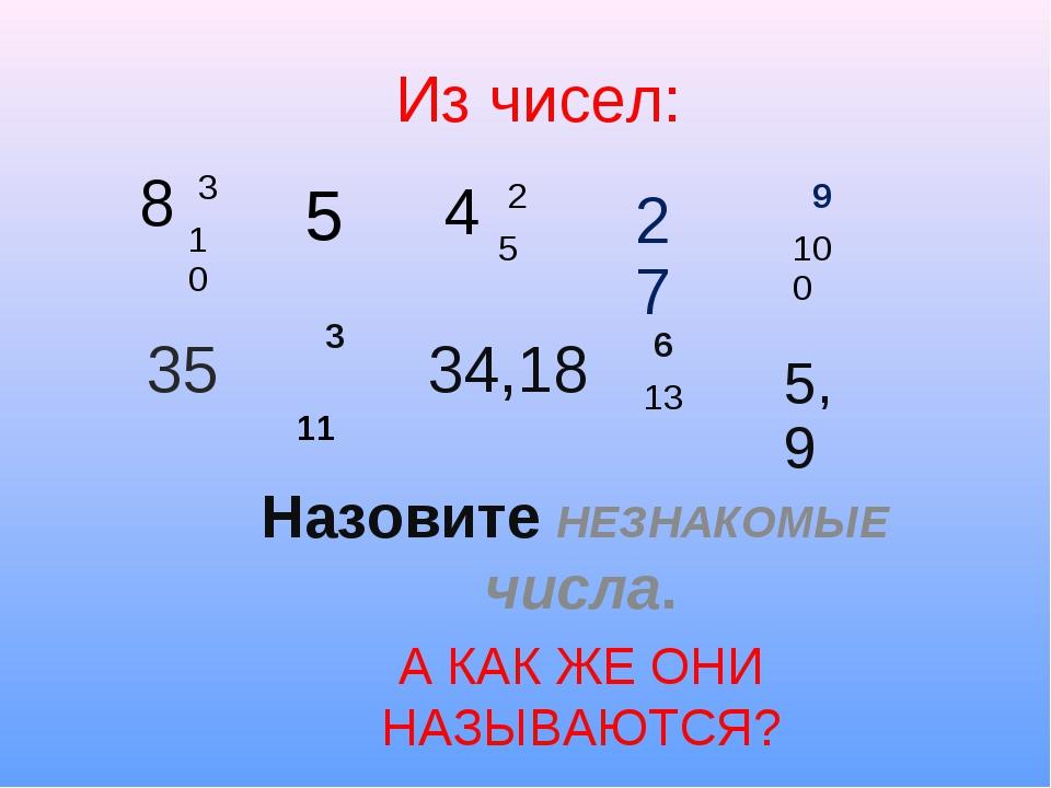 Из чисел: Назовите НЕЗНАКОМЫЕ числа. А КАК ЖЕ ОНИ НАЗЫВАЮТСЯ? 8 3 10 4 2 5...