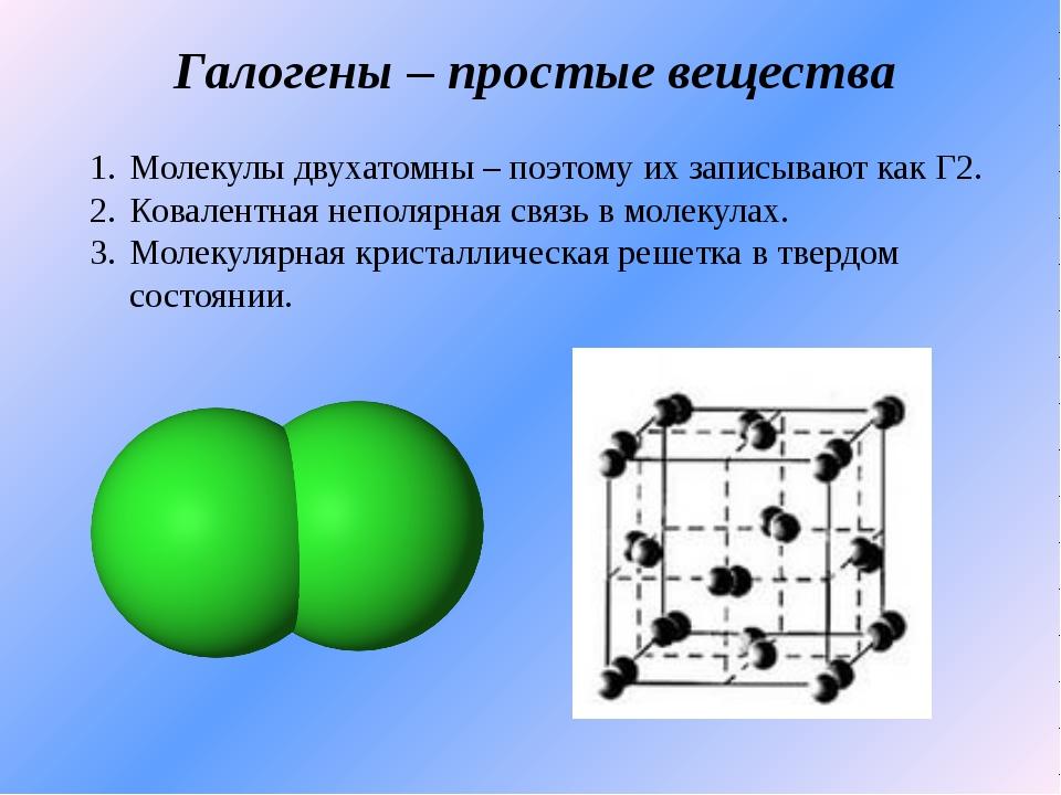 Галогены – простые вещества Молекулы двухатомны – поэтому их записывают как Г...