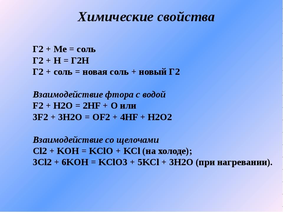 Химические свойства Г2 + Me = соль Г2 + Н = Г2Н Г2 + соль = новая соль + новы...