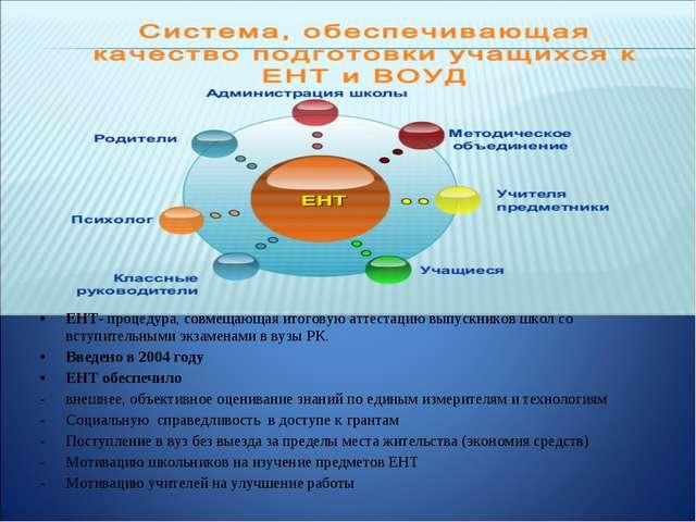 ЕНТ- процедура, совмещающая итоговую аттестацию выпускников школ со вступите...