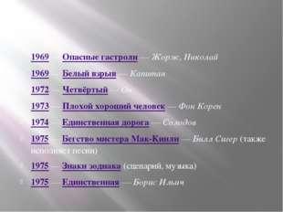 1969 — Опасные гастроли — Жорж, Николай 1969 — Белый взрыв — Капитан 1972 —