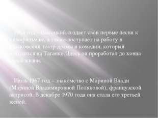 1964 год – Высоцкий создает свои первые песни к кинофильмам, а также поступа