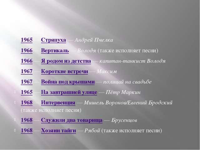1965 — Стряпуха — Андрей Пчелка 1966 — Вертикаль — Володя (также исполняет п...
