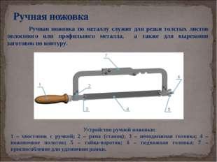 Ручная ножовка по металлу служит для резки толстых листов полосового или про