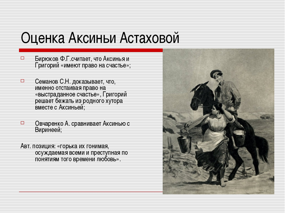 Оценка Аксиньи Астаховой Бирюков Ф.Г.считает, что Аксинья и Григорий «имеют п...