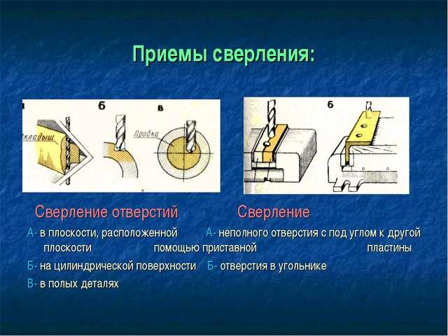 Приемы сверления: Сверление отверстий Сверление А- в плоскости, расположенной...