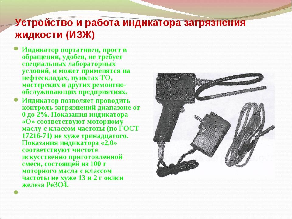 Устройство и работа индикатора загрязнения жидкости (ИЗЖ) Индикатор портативе...
