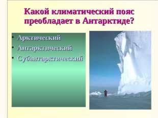 Какой климатический пояс преобладает в Антарктиде? Арктический Антарктический