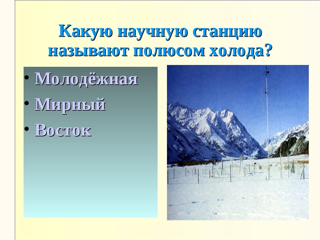 Какую научную станцию называют полюсом холода? Молодёжная Мирный Восток
