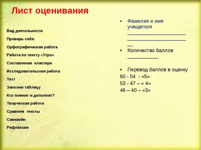 Лист оценивания Фамилия и имя учащегося _____________________________________...