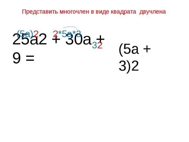 Представить многочлен в виде квадрата двучлена 25а2 + 30а + 9 = (5а)2 2*5а*3...