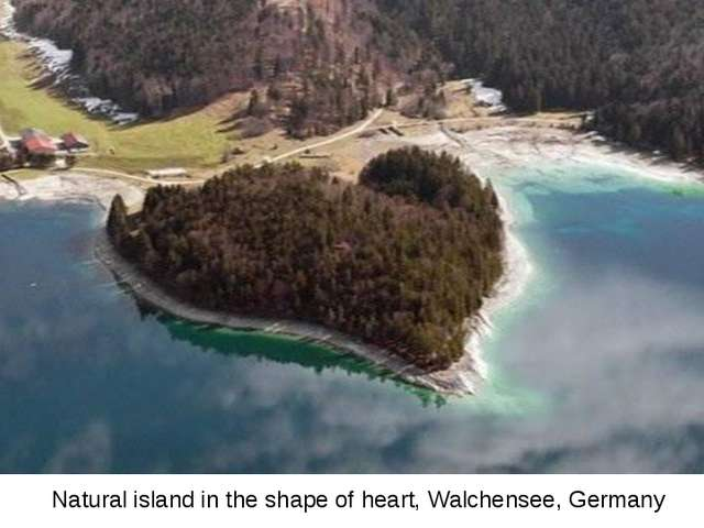 Natural island in the shape of heart, Walchensee, Germany