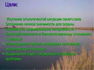 Цели: Изучение экологической ситуации своего села Осознание личной значимости