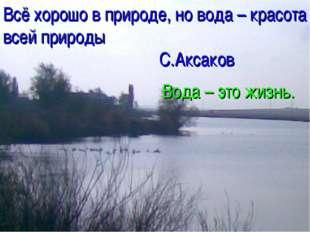 Всё хорошо в природе, но вода – красота всей природы С.Аксаков Вода – это жиз