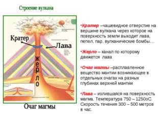 Кратер –чашевидное отверстие на вершине вулкана через которое на поверхность