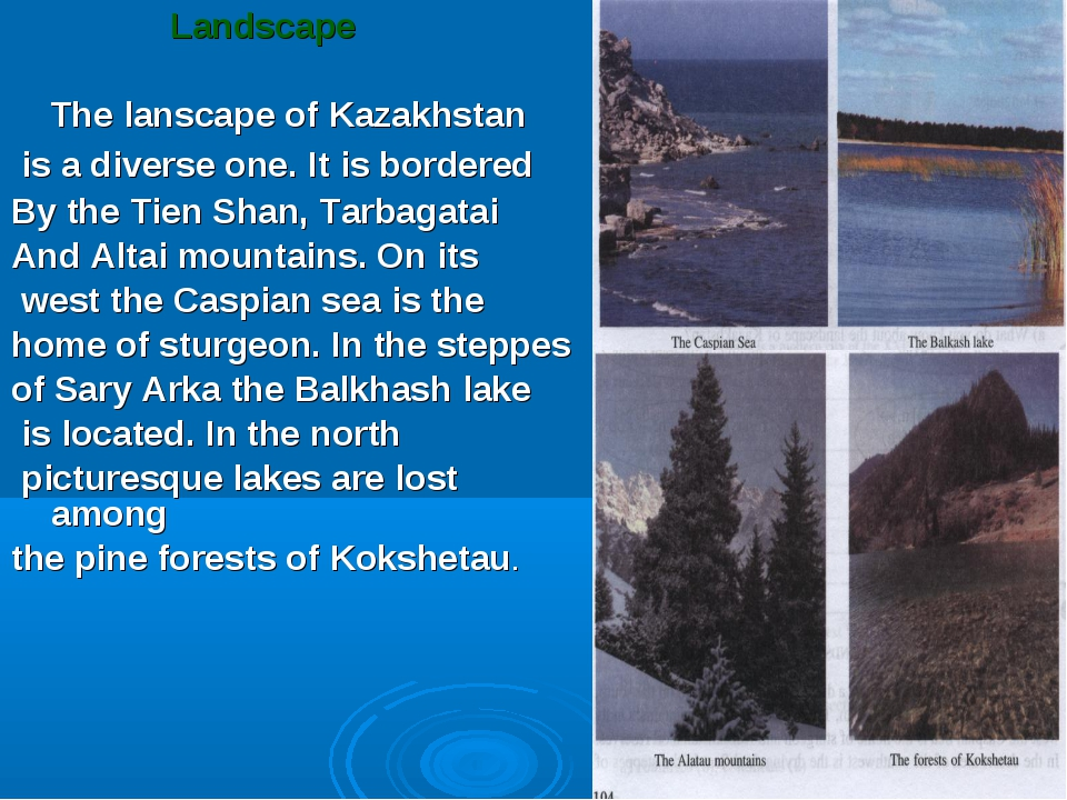 Landscape The lanscape of Kazakhstan is a diverse one. It is bordered By the...