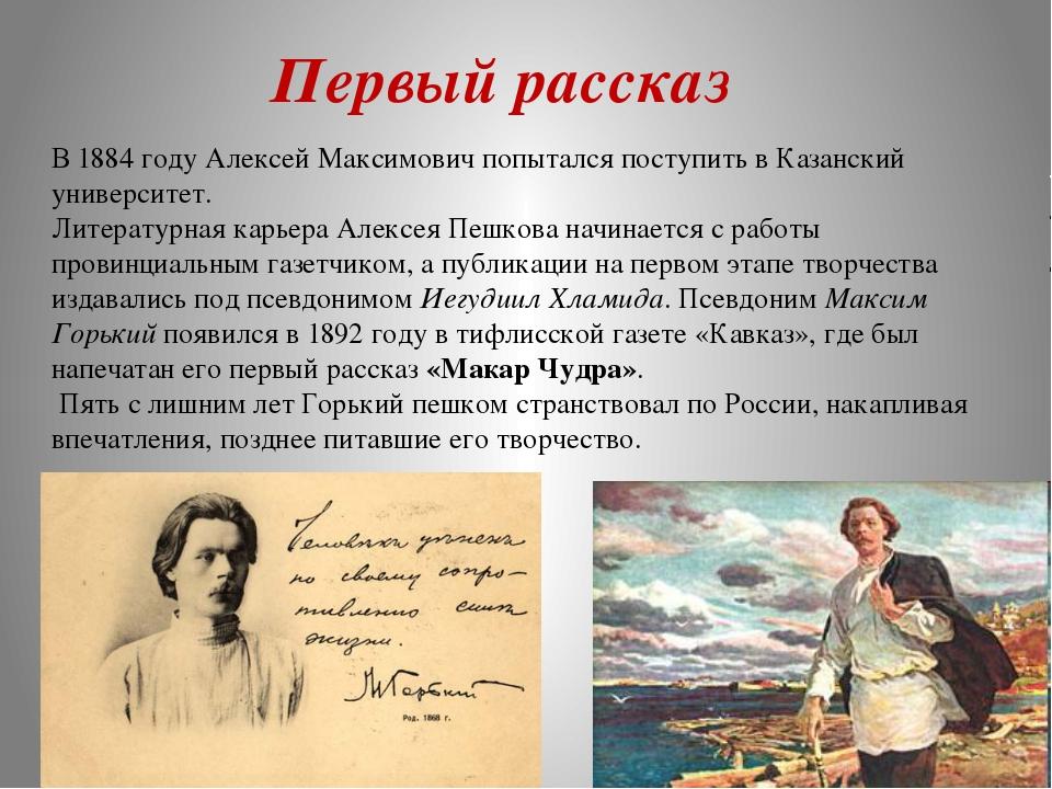 В 1884 году Алексей Максимович попытался поступить в Казанский университет. Л...