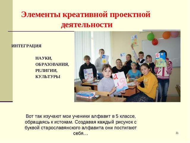 Элементы креативной проектной деятельности ИНТЕГРАЦИЯ НАУКИ, ОБРАЗОВАНИЯ, РЕЛ...